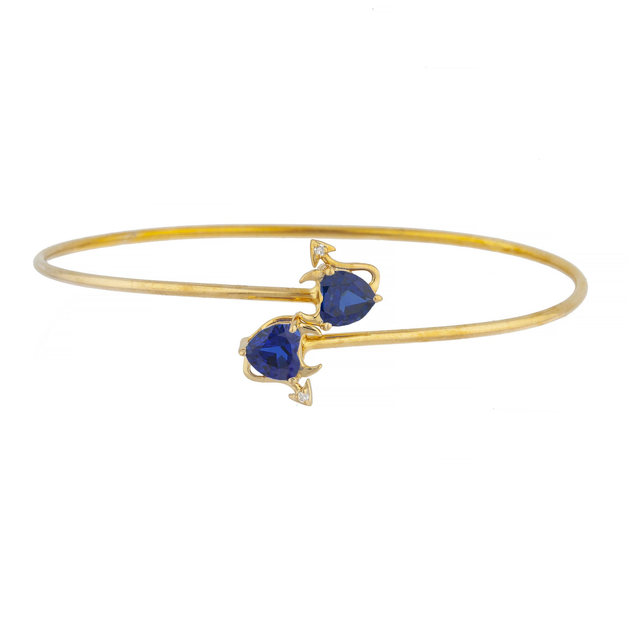 14Kt Gold Blue Sapphire & Diamond Devil Heart Bangle Bracelet