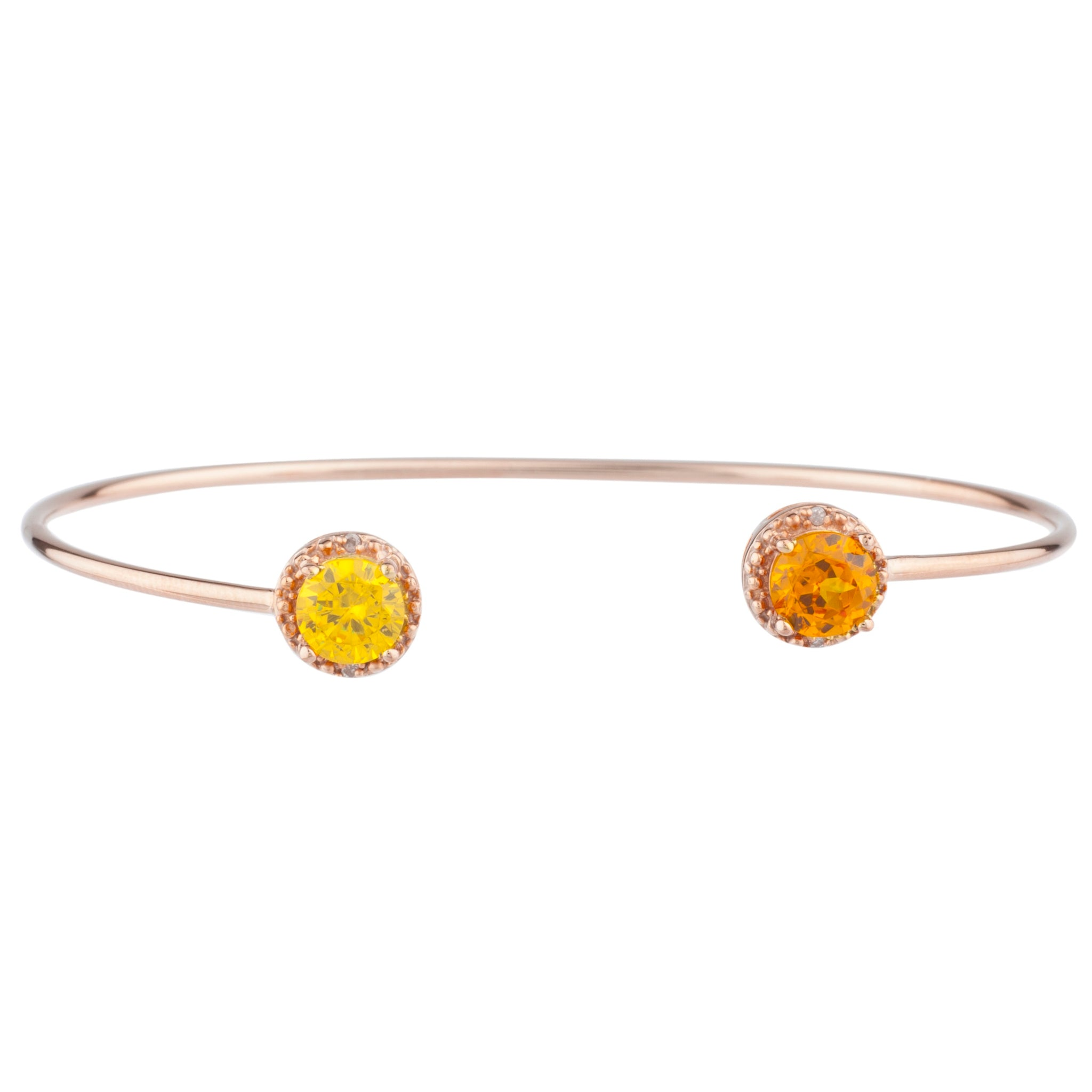 Orange Citrine & Yellow Citrine Diamond Bangle Round Bracelet 14Kt Rose Gold Plated Over .925 Sterling Silver