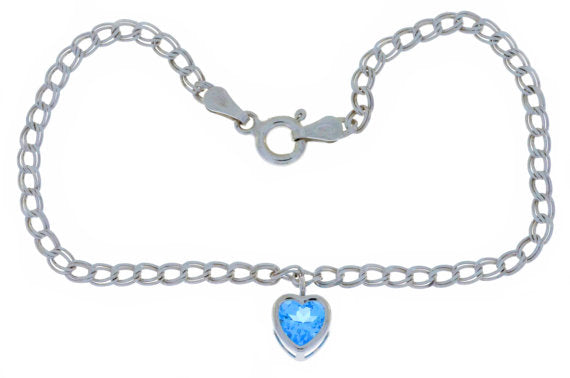 1 Ct Blue Topaz Heart Bezel Bracelet .925 Sterling Silver Rhodium Finish