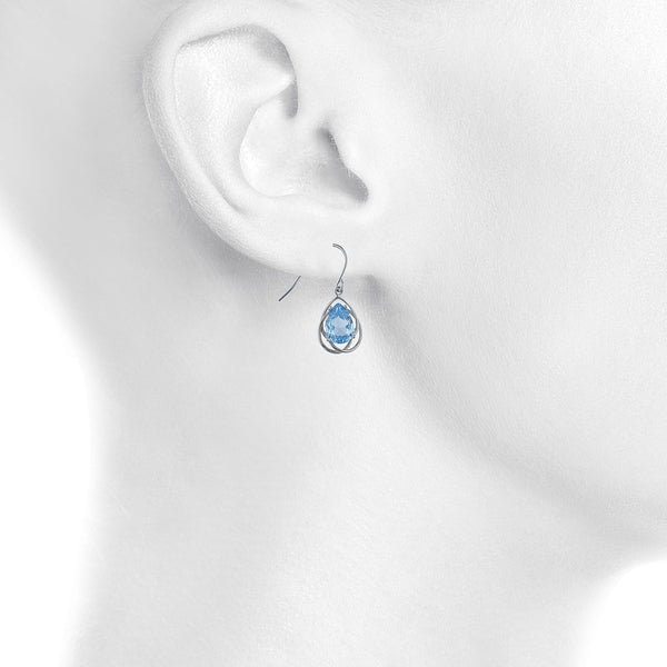 4 Ct Blue Topaz Pear Teardrop Design Dangle Earrings .925 Sterling Silver