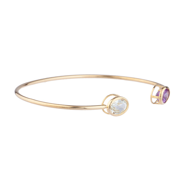 Genuine Aquamarine & Amethyst Oval Bezel Bangle Bracelet 14Kt Yellow Gold Plated Over .925 Sterling Silver