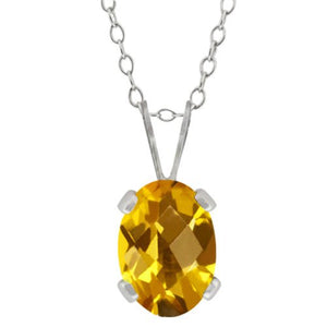 1.5 Ct Yellow Citrine Oval Pendant .925 Sterling Silver Rhodium Finish
