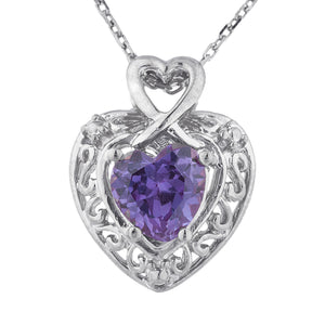 1.5 Ct Alexandrite Heart Design Pendant .925 Sterling Silver