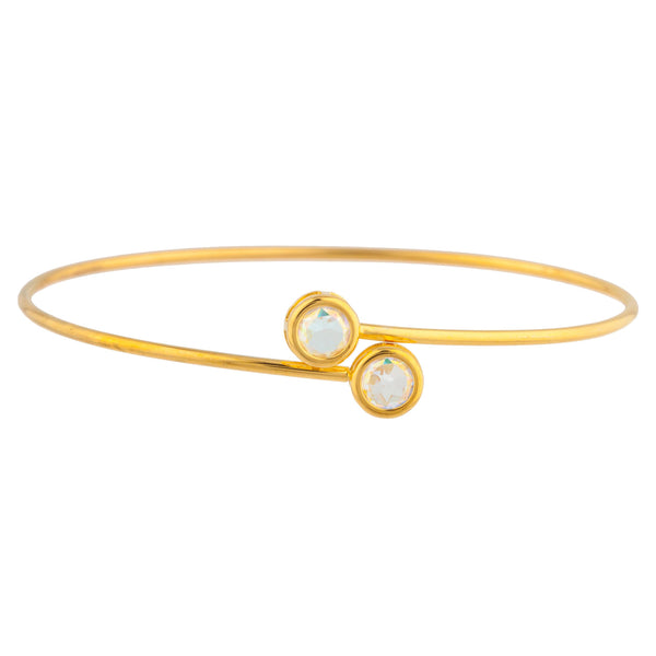 14Kt Yellow Gold Plated Natural Mercury Mist Mystic Topaz Round Bezel Bangle Bracelet