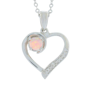 Pink Opal & Diamond Heart Pendant .925 Sterling Silver Rhodium Finish