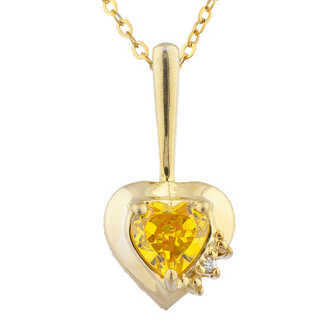 14Kt Gold Yellow Citrine & Diamond Heart Design Pendant Necklace