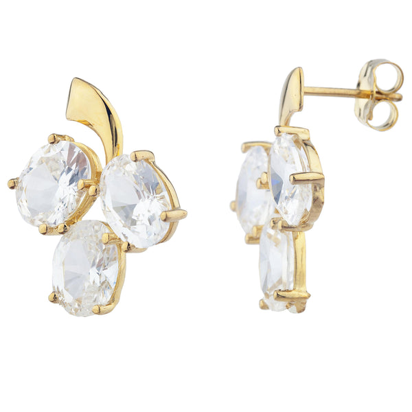 14Kt Yellow Gold Plated White Sapphire Oval Design Stud Earrings