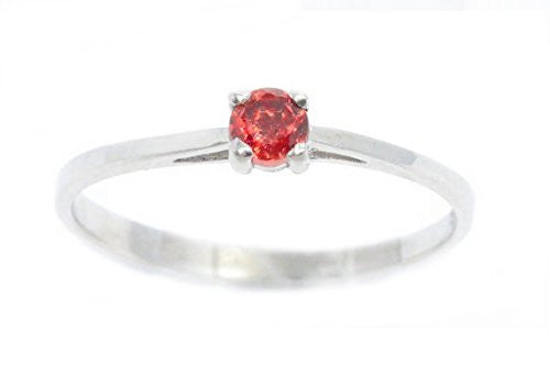 3mm Genuine Garnet Round Ring .925 Sterling Silver Rhodium Finish