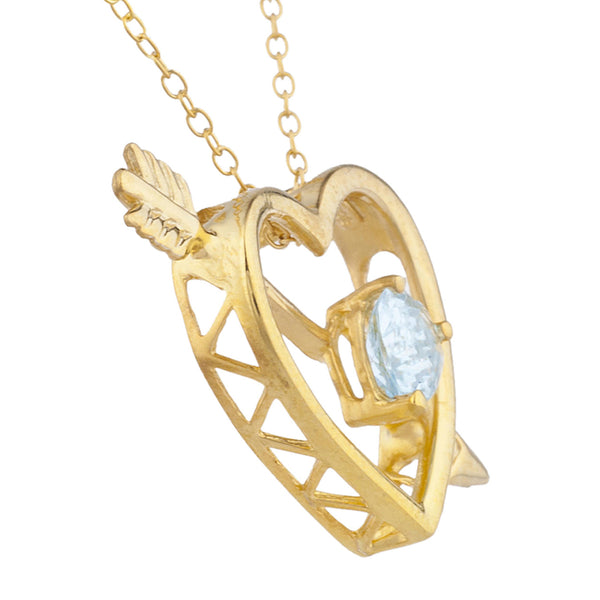 14Kt Yellow Gold Plated Genuine Aquamarine Heart Bow & Arrow Pendant