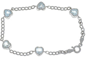 5 Ct Genuine Aquamarine Heart Bezel Bracelet .925 Sterling Silver