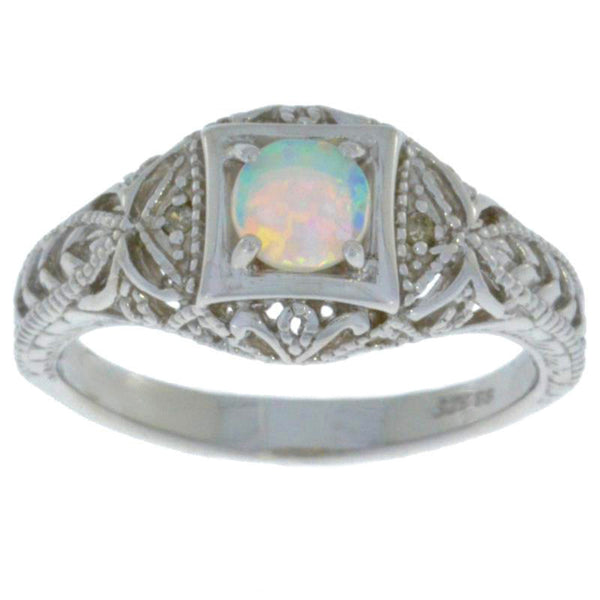 Opal & Diamond Round Ring .925 Sterling Silver