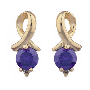 14Kt Yellow Gold Plated Amethyst & Diamond Round Design Stud Earrings