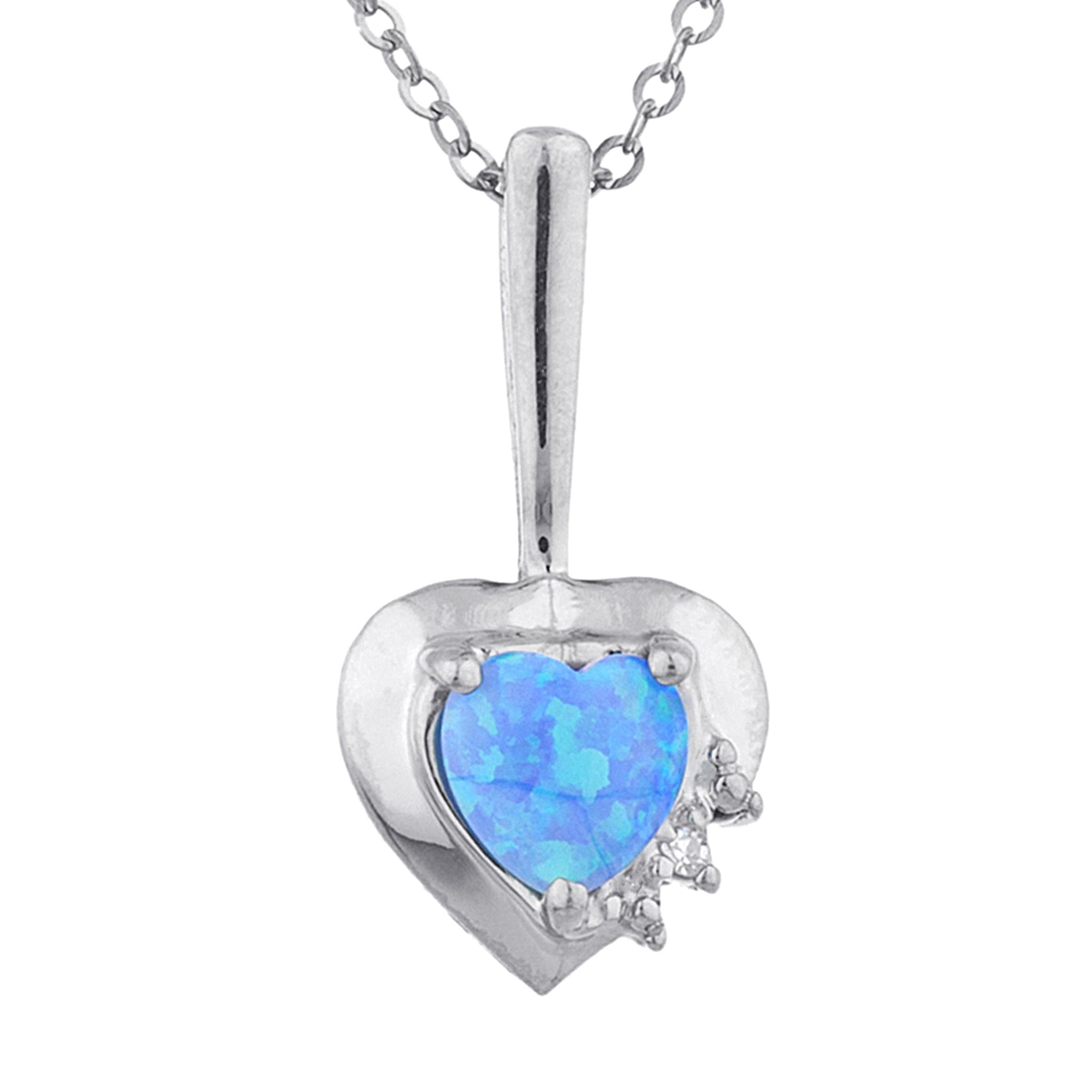 Blue Opal & Diamond Heart Pendant .925 Sterling Silver