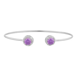 2 Ct Amethyst & Diamond Round Bangle Bracelet .925 Sterling Silver