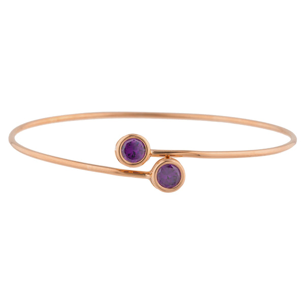 14Kt Rose Gold Plated Amethyst Round Bezel Bangle Bracelet