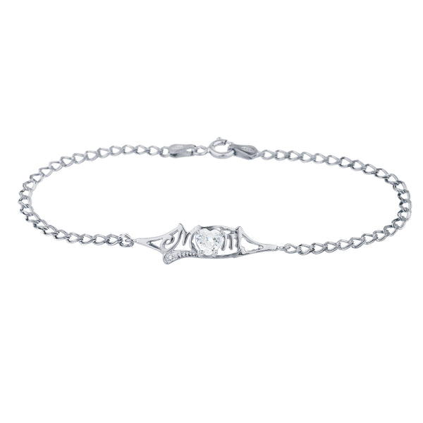 White Sapphire & Diamond Heart Mom Bracelet .925 Sterling Silver