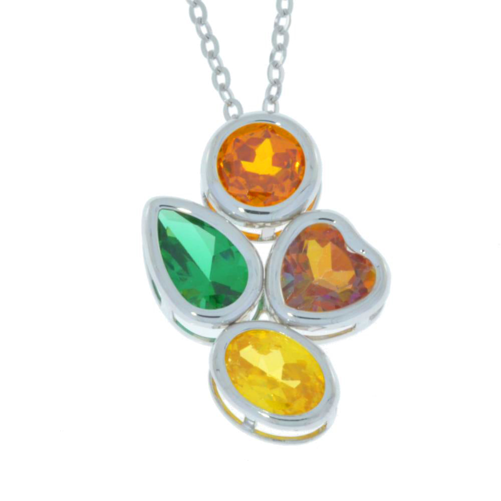 Emerald Ecstasy Mystic Topaz Orange & Yellow Citrine Round Pear Heart Oval Bezel Pendant .925 Sterling Silver