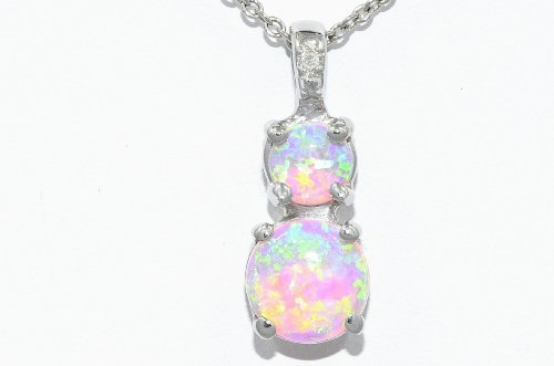 Pink Opal Double Diamond Pendant .925 Sterling Silver Rhodium Finish