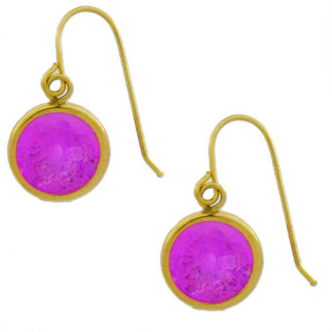 14Kt Yellow Gold Pink Sapphire 6mm Round Bezel Dangle Earrings