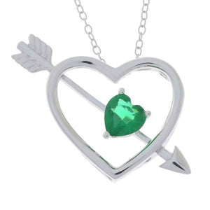 Emerald Heart Bow & Arrow Pendant .925 Sterling Silver Rhodium Finish