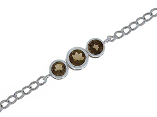 2 Ct Smoky Quartz Round Bezel Bracelet .925 Sterling Silver Rhodium Finish