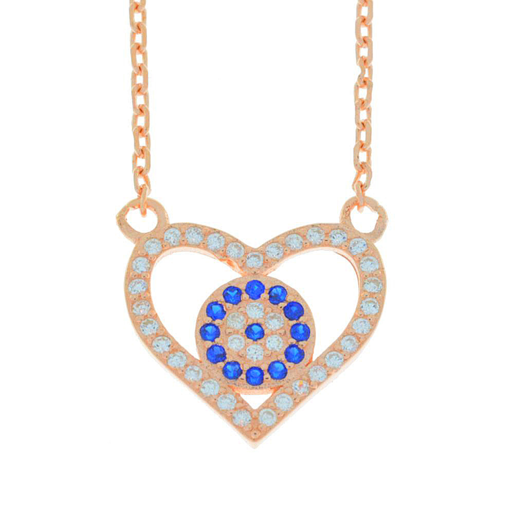 Evil Eye Blue & White CZ Heart Design Pendant 14Kt Rose Gold Plated Over .925 Sterling Silver