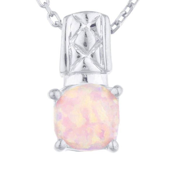 Pink Opal Round Design Pendant .925 Sterling Silver