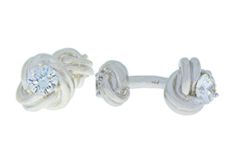 2.5 Ct Cubic Zirconia Knot Cufflinks .925 Sterling Silver Rhodium Finish