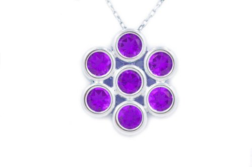 2 Ct Amethyst Round Bezel Pendant .925 Sterling Silver Rhodium Finish