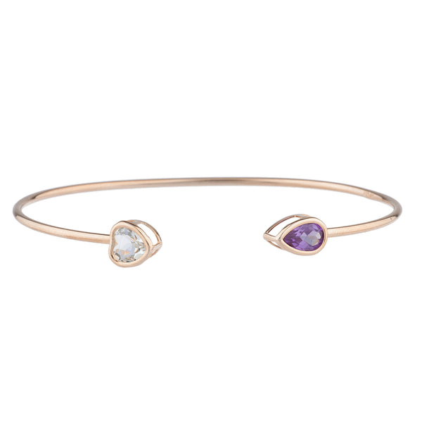 Aquamarine Heart & Amethyst Pear Bezel Bangle Bracelet 14Kt Rose Gold Plated Over .925 Sterling Silver