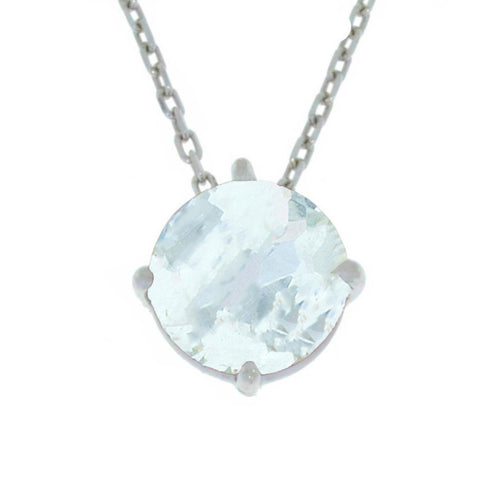 14Kt Gold Aquamarine Round Pendant Necklace