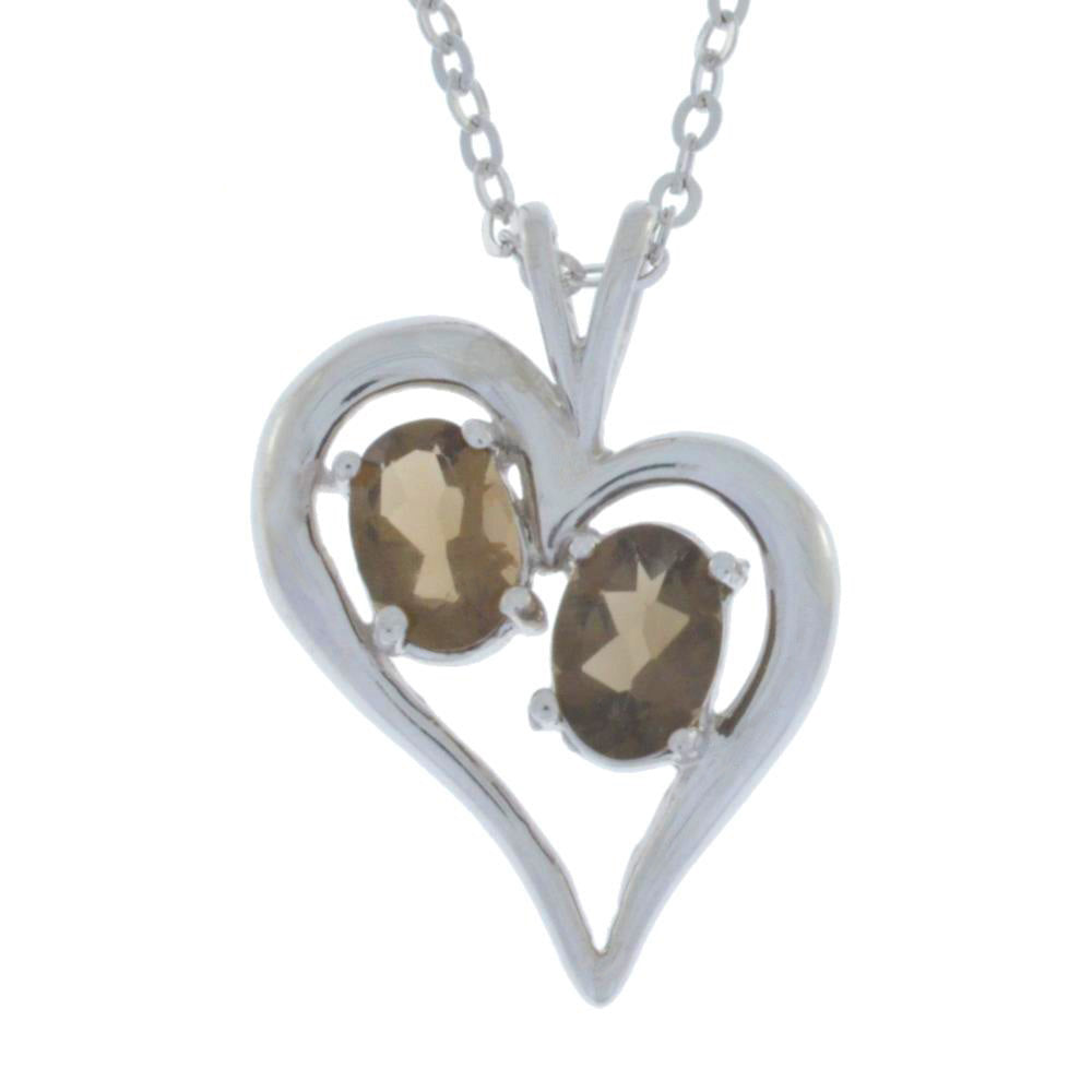 1 Ct Genuine Smoky Quartz Oval Heart Pendant .925 Sterling Silver