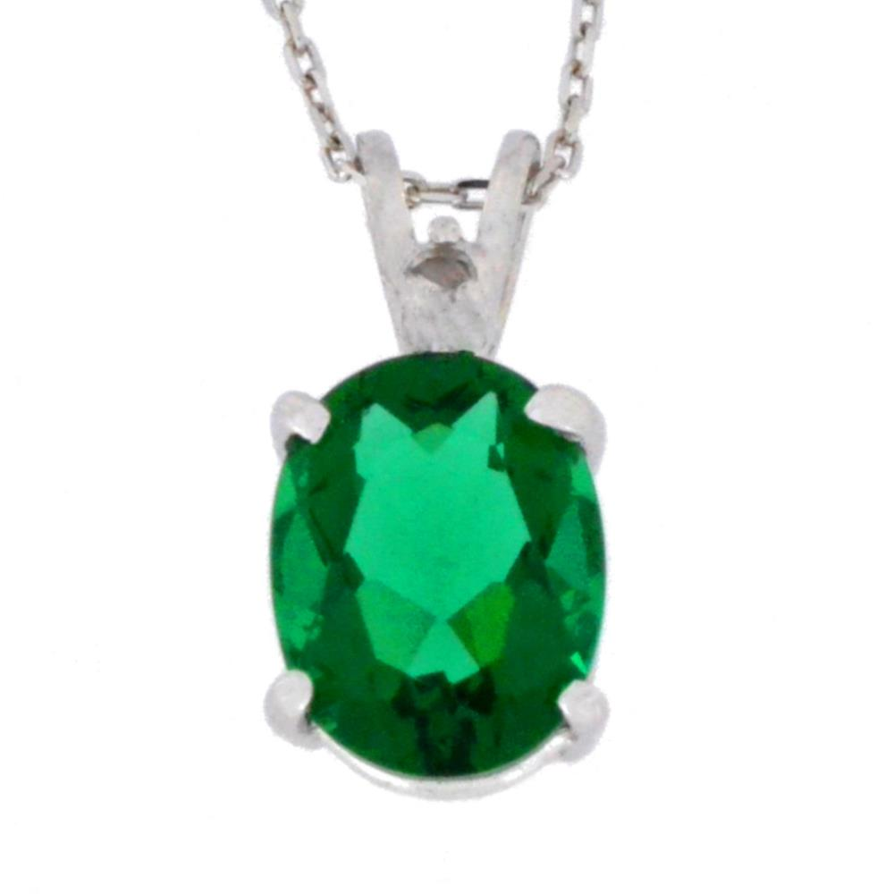 2.5 Ct Created Emerald & Diamond Oval Pendant .925 Sterling Silver Rhodium Finish
