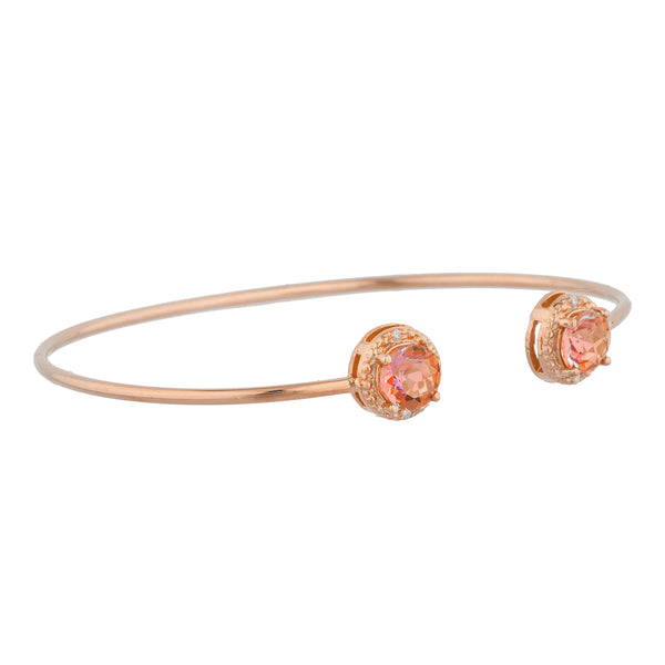 14Kt Rose Gold Plated Natural Ecstasy Mystic Topaz & Diamond Round Bangle Bracelet