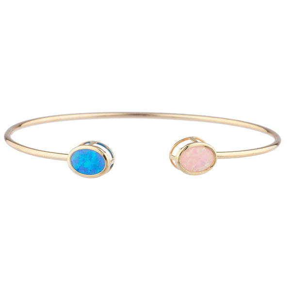 Blue & Pink Opal Oval Bezel Bangle Bracelet 14Kt Yellow Gold Plated Over .925 Sterling Silver