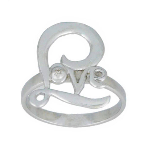 Natural Diamond Love Ring .925 Sterling Silver
