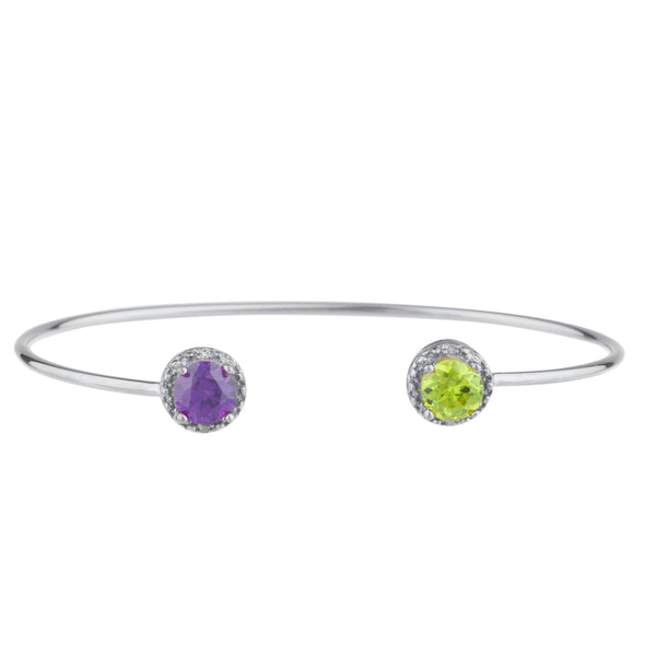 Amethyst & Peridot Diamond Bangle Round Bracelet .925 Sterling Silver Rhodium Finish