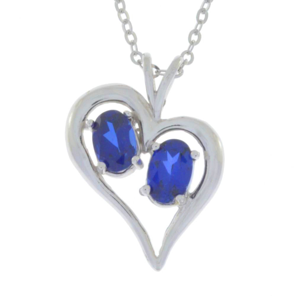 1 Ct Blue Sapphire Oval Heart Pendant .925 Sterling Silver
