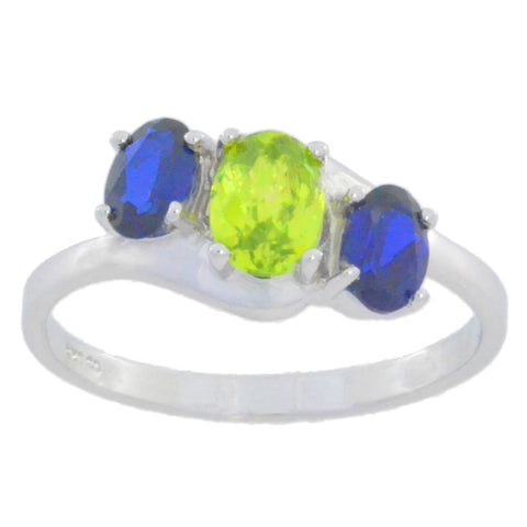 2 Ct Peridot & Blue Sapphire Oval Ring .925 Sterling Silver