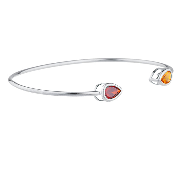 Orange Citrine & Garnet Pear Bezel Bangle Bracelet .925 Sterling Silver