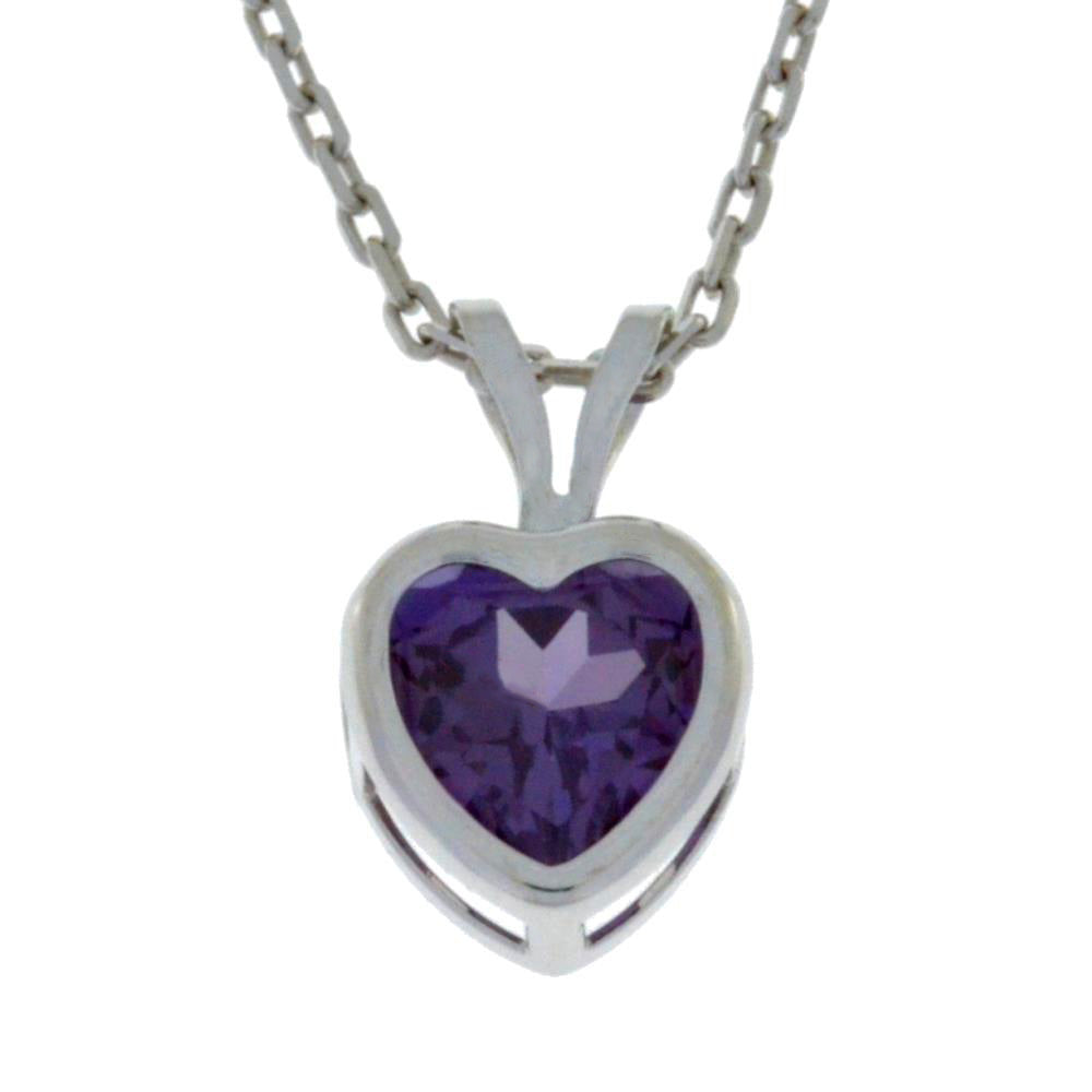 1 Ct Alexandrite Heart Bezel Pendant .925 Sterling Silver Rhodium Finish