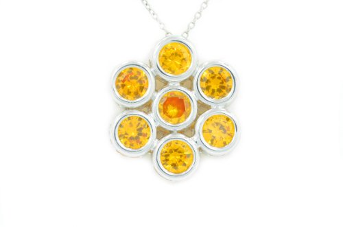 2 Ct Citrine Round Bezel Pendant .925 Sterling Silver Rhodium Finish