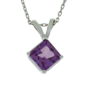 14Kt Gold Alexandrite Princess Cut Pendant Necklace