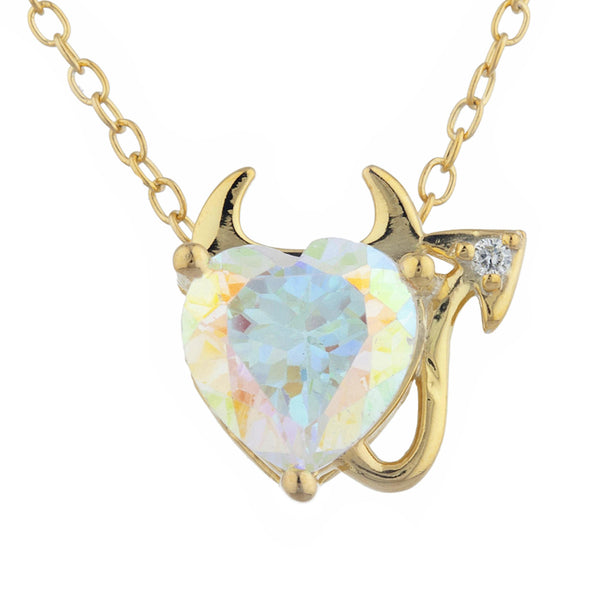 1.5 Ct Natural Mercury Mist Mystic Topaz & Diamond Devil Heart Pendant 14Kt Yellow Gold Silver
