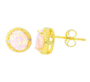 Pink Opal & Diamond Round Stud Earrings 14Kt Yellow Gold