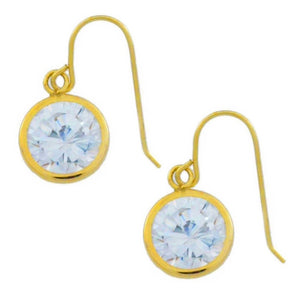 14Kt Yellow Gold Zirconia 8mm Round Bezel Dangle Earrings