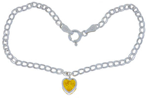 1 Ct Citrine Heart Bezel Bracelet .925 Sterling Silver Rhodium Finish [Jewelry]