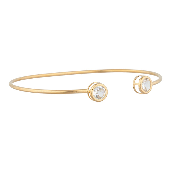 14Kt Yellow Gold Plated White Sapphire Round Bezel Bangle Bracelet