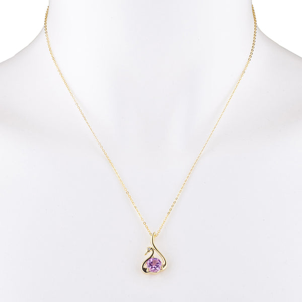 14Kt Yellow Gold Plated Pink Sapphire & Diamond Swan Pendant