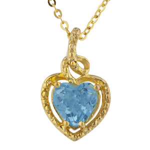 14Kt Gold Blue Topaz Heart Design Pendant Necklace